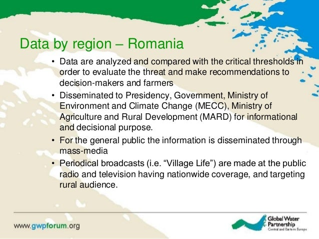 Data by region – Romania • Data are analyzed and compared with the critical thresholds in order to evaluate the threat and...