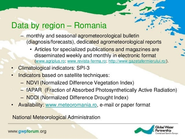 Data by region – Romania – monthly and seasonal agrometeorological bulletin (diagnosis/forecasts), dedicated agrometeorolo...
