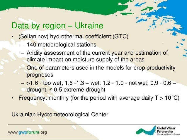 Data by region – Ukraine • (Selianinov) hydrothermal coefficient (GTC) – 140 meteorological stations – Aridity assessment ...