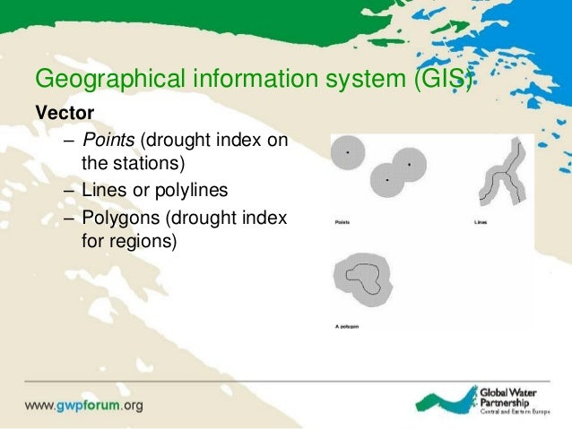 Geographical information system (GIS) Vector – Points (drought index on the stations) – Lines or polylines – Polygons (dro...