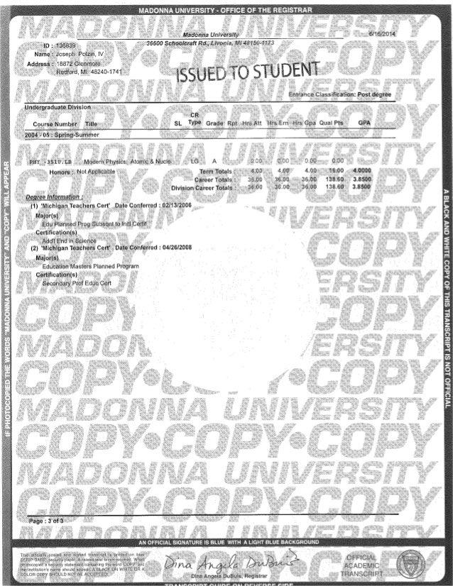 madonna transcript
