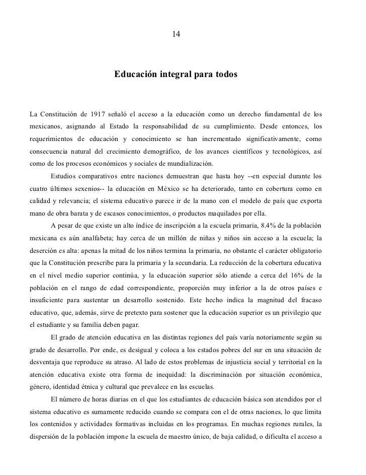 14                              Educación integral para todosLa Constitución de 1917 señaló el acceso a la educación como ...