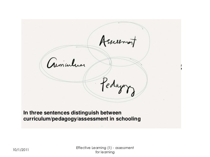 Effective Learning (1) - assessment for learning     In three sentences distinguish between     curriculum/pedagogy/assess...