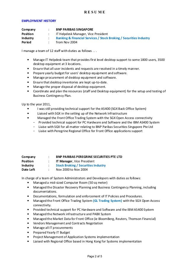 Best It Helpdesk Manager Resume Gallery - Best Resume Examples For