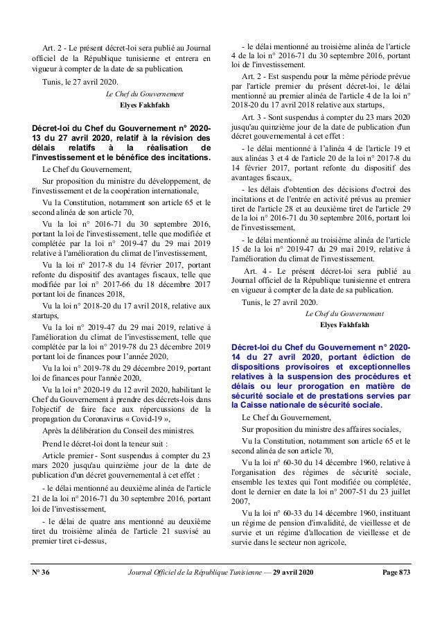 N° 36 Journal Officiel de la République Tunisienne — 29 avril 2020 Page 873 Art. 2 - Le présent décret-loi sera publié au ...
