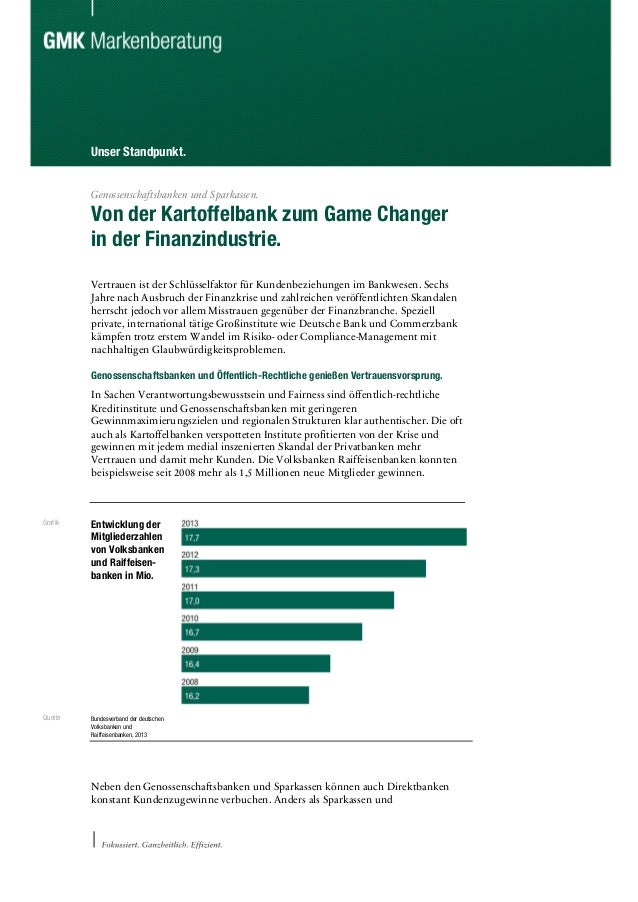 Unser Standpunkt. Genossenschaftsbanken und Sparkassen. Von der Kartoffelbank zum Game Changer in der Finanzindustrie. Ver...