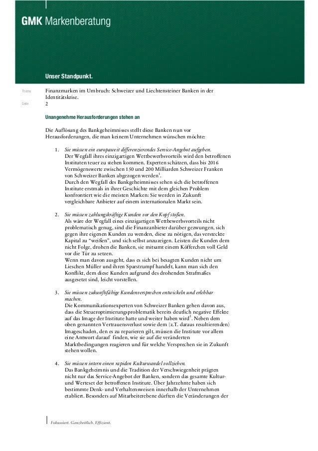 Markenstandpunkt Schweizer Banken Slide 2