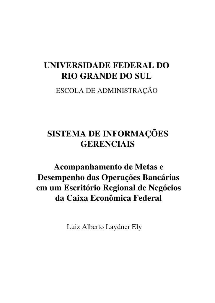 UNIVERSIDADE FEDERAL DO     RIO GRANDE DO SUL      ESCOLA DE ADMINISTRAÇÃO       SISTEMA DE INFORMAÇÕES         GERENCIAIS...