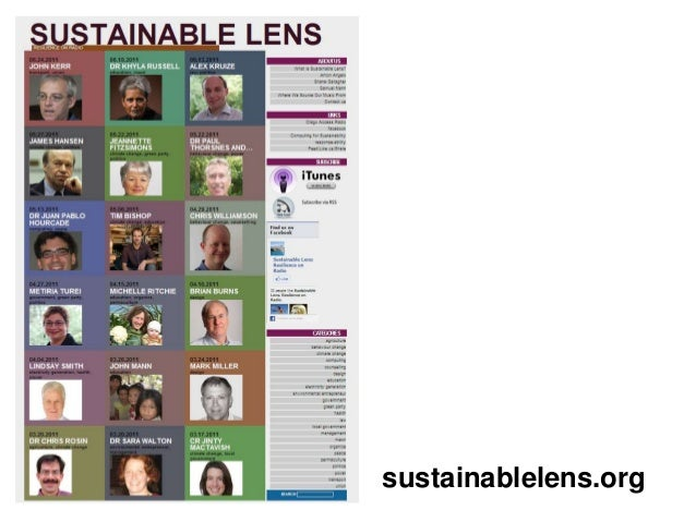 Guest lecture Sustainable Lens 2014