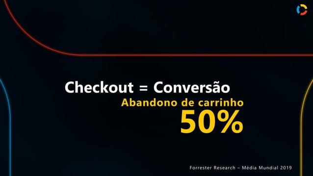Checkout = Conversão Abandono de carrinho 50% Forrester Research – Média Mundial 2019