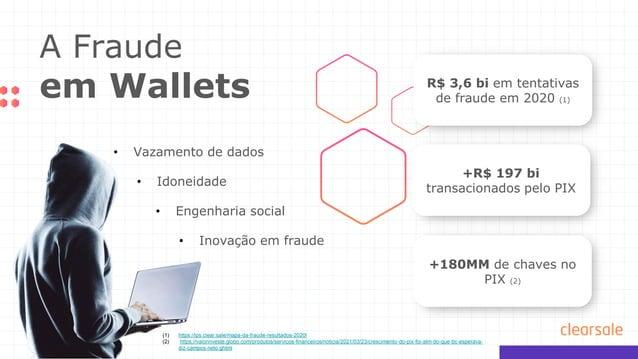 A Fraude em Wallets R$ 3,6 bi em tentativas de fraude em 2020 (1) +R$ 197 bi transacionados pelo PIX +180MM de chaves no P...
