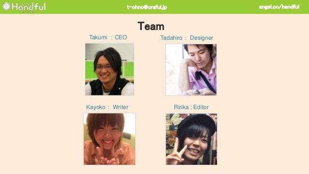 Ririka : EditorKayoko: Writer Tadahiro: DesignerTakumi :CEO Team angel.co/handfult-ohno@craful.jp
