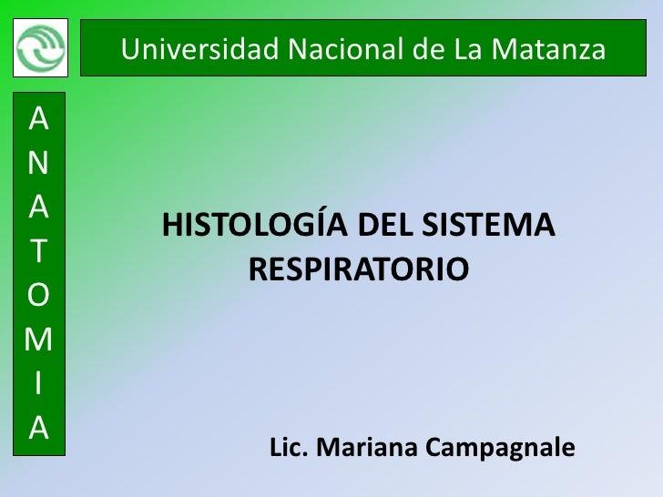 Universidad Nacional de La MatanzaANA      HISTOLOGÍA DEL SISTEMAT           RESPIRATORIOOMIA             Lic. Mariana Cam...