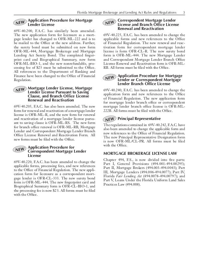 Florida Mortgage Brokerage and Lending Act Rules and Regulations 3 Application Procedure for Mortgage Lender License 69V-4...