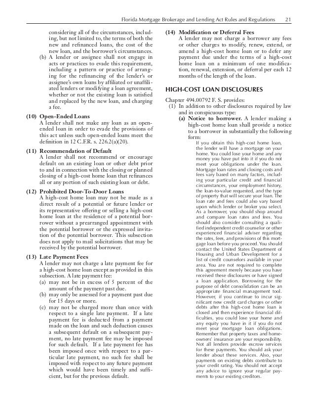 Florida Mortgage Brokerage and Lending Act Rules and Regulations 21 considering all of the circumstances, includ- ing,...