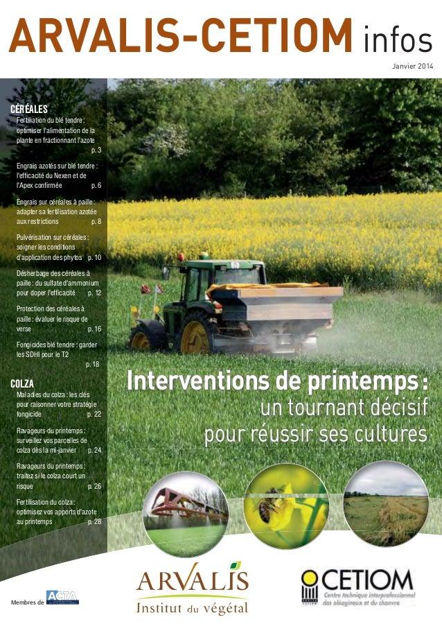 ARVALIS-CETIOM infos Janvier 2014  CÉRÉALES Fertiliation du blé tendre : optimiser l'alimentation de la plante en fraction...