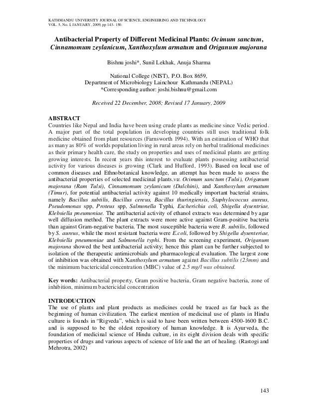 KATHMANDU UNIVERSITY JOURNAL OF SCIENCE, ENGINEERING AND TECHNOLOGYVOL. 5, No. I, JANUARY, 2009, pp 143- 150. Antibacteria...