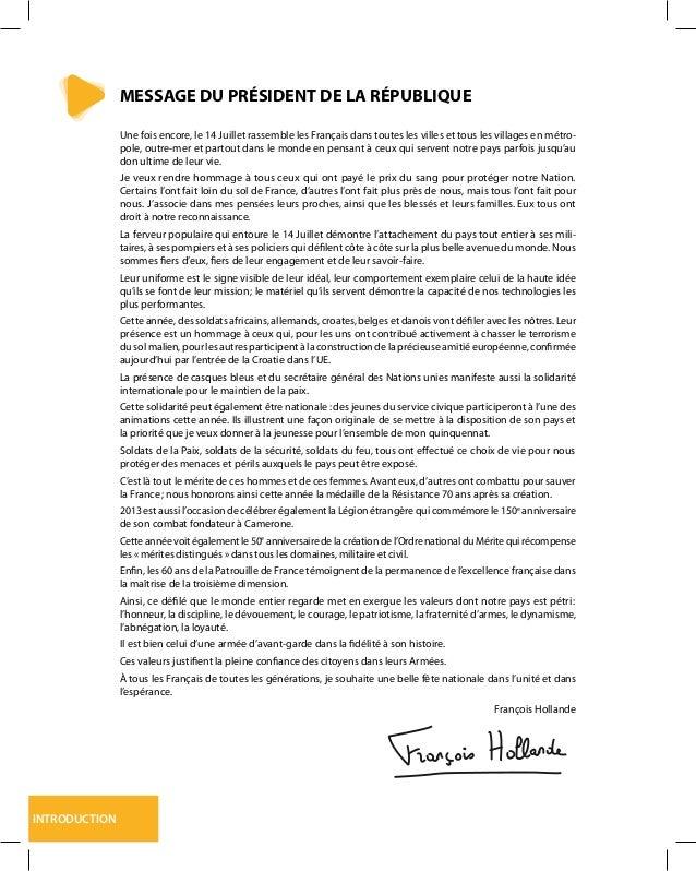INTRODUCTION MESSAGE DU PRÉSIDENT DE LA RÉPUBLIQUE Une fois encore, le 14 Juillet rassemble les Français dans toutes les v...
