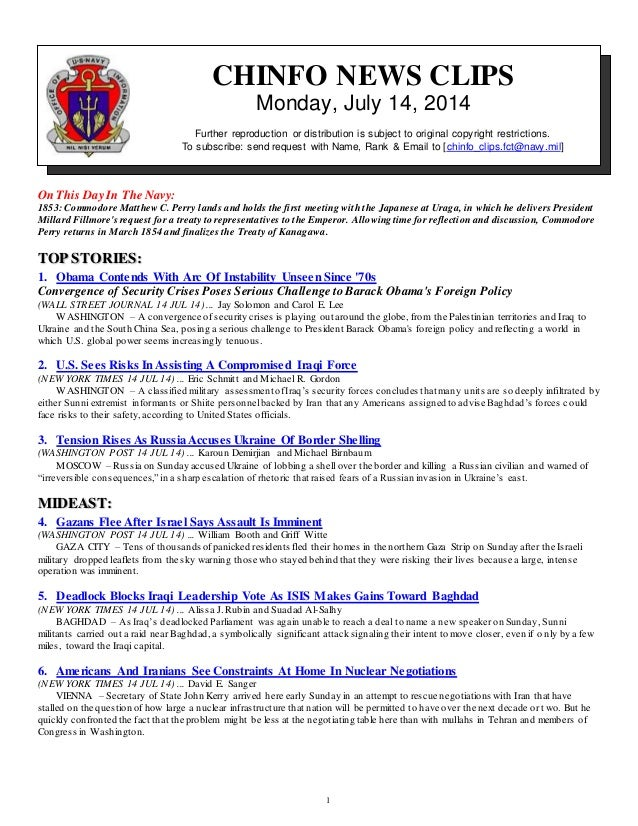1 CHINFO NEWS CLIPS Monday, July 14, 2014 Further reproduction or distribution is subject to original copyright restrictio...