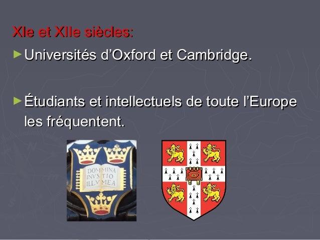 XIe et XIIe siècles:XIe et XIIe siècles: ►Universités d'Oxford et Cambridge.Universités d'Oxford et Cambridge. ►Étudiants ...