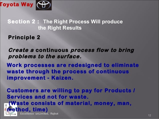principals of management the toyota way Management systems strana č 1 4p model 14 toyota way principles 1p: philosophy: long-term philosophy 2p: process: the right process will produce the right results.