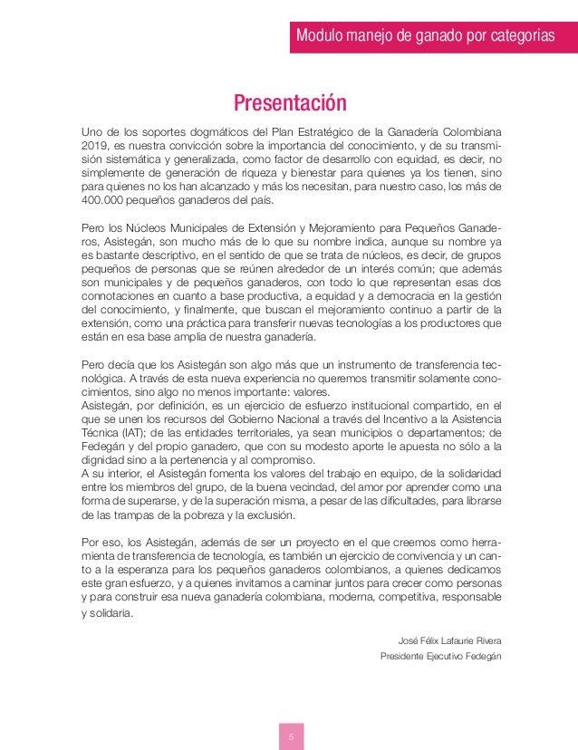 Modulo manejo de ganado por categorias  Uno de los soportes dogmáticos del Plan Estratégico de la Ganadería Colombiana  20...
