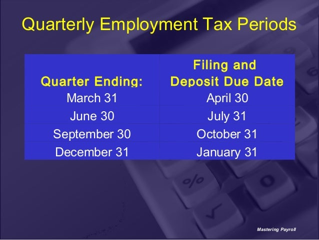 Federal quarterly taxes due dates in Sydney