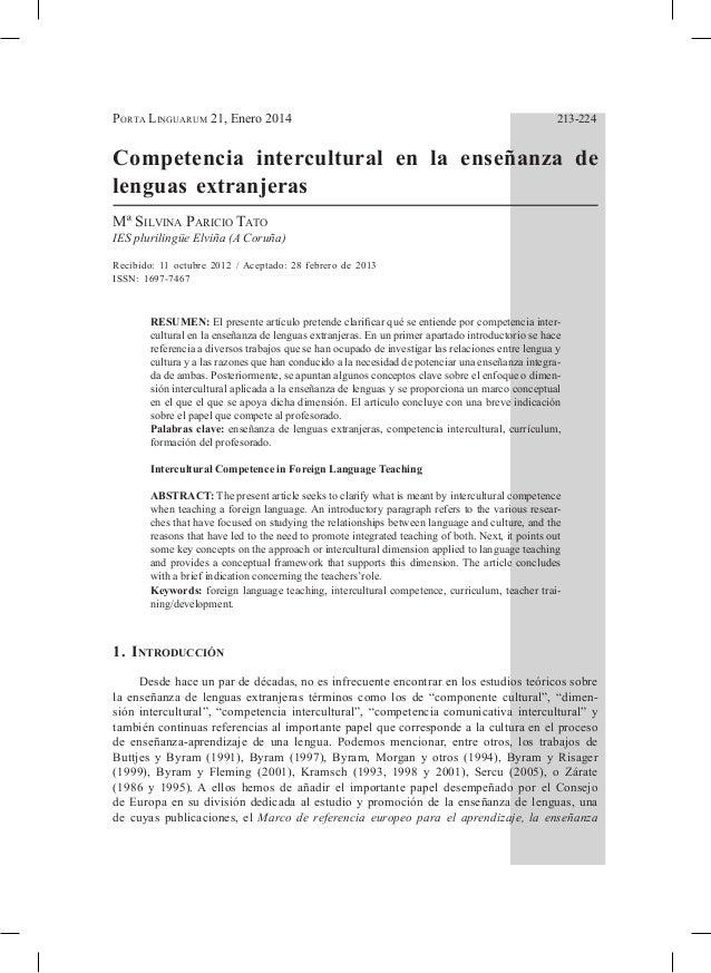 Porta Linguarum 21, Enero 2014  213-224  Competencia intercultural en la enseñanza de lenguas extranjeras Mª Silvina Pari...