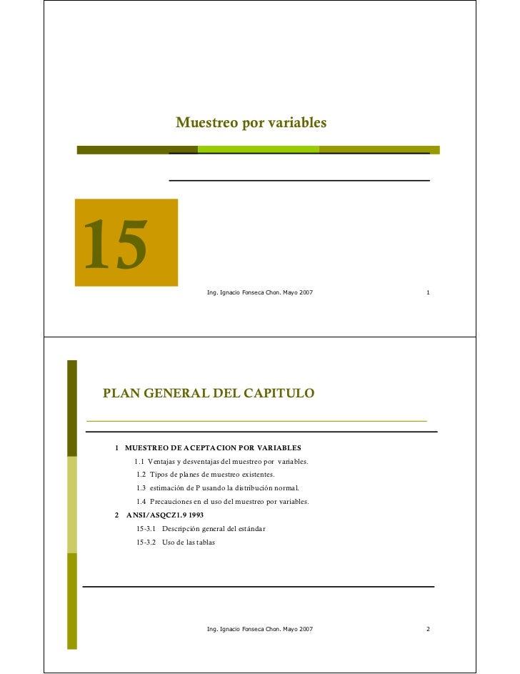 Muestreo por variables                             Ing. Ignacio Fonseca Chon. Mayo 2007   1PLAN GENERAL DEL CAPITULO 1 MUE...