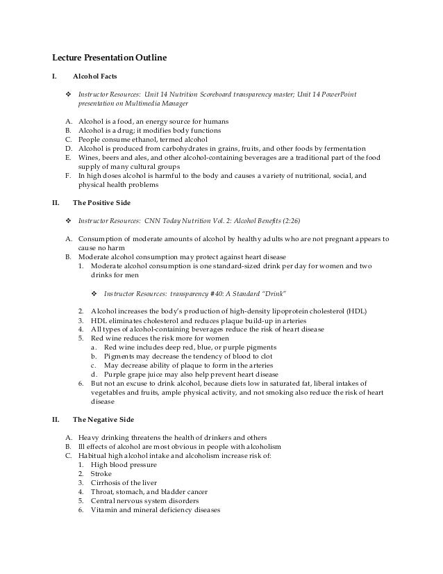 Lecture Presentation Outline I. Alcohol Facts  Instructor Resources: Unit 14 Nutrition Scoreboard transparency master; Un...
