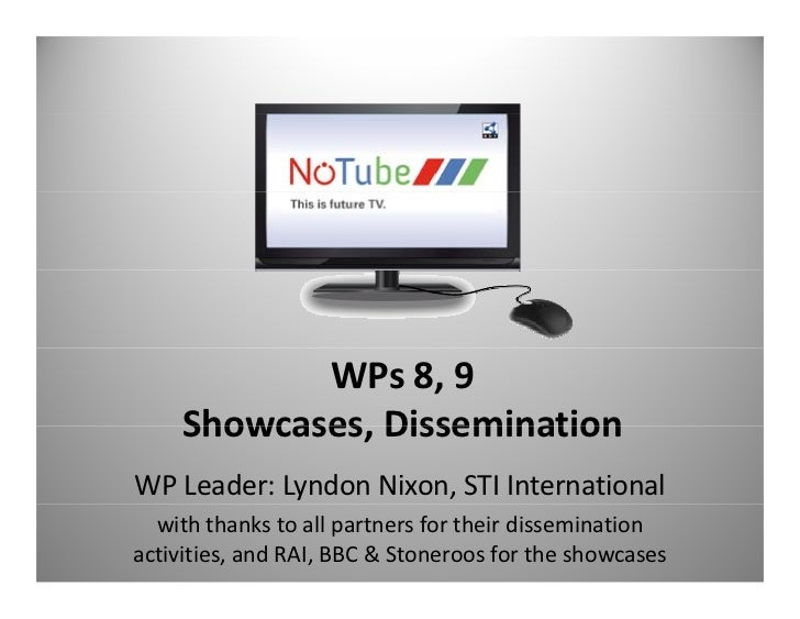 WPs 8, 9     Showcases, Dissemination     Showcases DisseminationWP Leader: Lyndon Nixon, STI International  with thanks t...