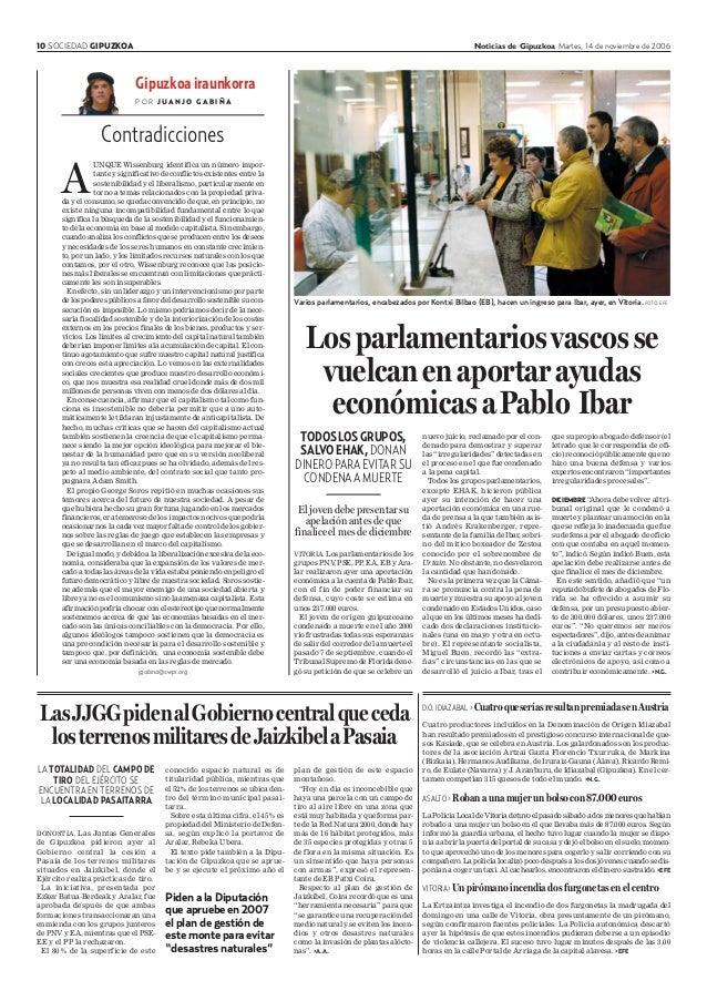 10 SOCIEDAD GIPUZKOA Noticias de Gipuzkoa Martes, 14 de noviembre de 2006 Gipuzkoa iraunkorra P O R J U A N J O G A B I Ñ ...
