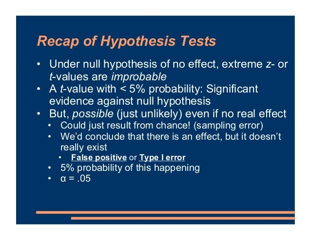 Recap of Hypothesis Tests • Under null hypothesis of no effect, extreme z- or t-values are improbable • A t-value with < 5...