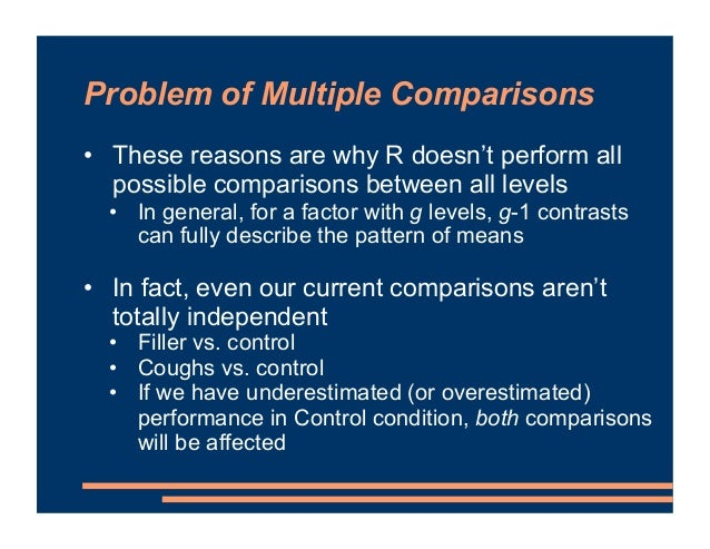 Problem of Multiple Comparisons • Solutions to problem of multiple comparisons of factor levels: 1. Apply a correction for...
