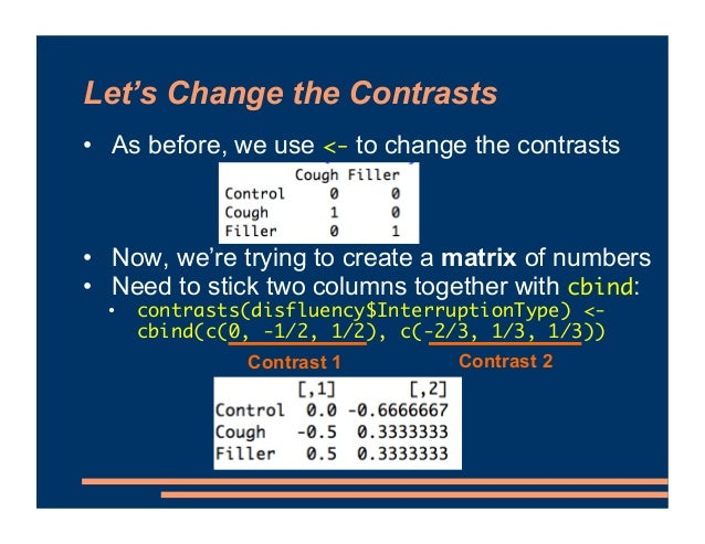 """Naming the Contrasts • Default contrast names are just """"1"""" and """"2"""" • We can change the names of these columns with colname..."""