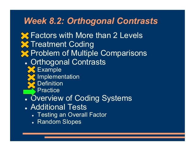 Orthogonal Contrasts Practice • For each set of contrasts, decide whether it IS orthogonal or IS not orthogonal. (a) (b) (...
