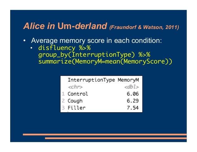 Alice in Um-derland (Fraundorf & Watson, 2011) • Average memory score in each condition: • disfluency %>% group_by(Interru...