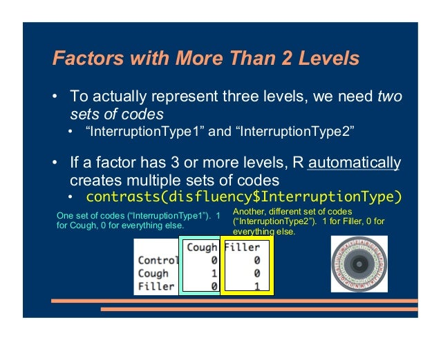 """Factors with More Than 2 Levels • To actually represent three levels, we need two sets of codes • """"InterruptionType1"""" and ..."""