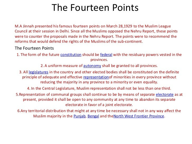 Fourteen Points of Jinnah