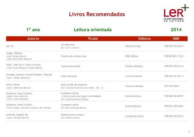 Livros Recomendados 1º ano Leitura orientada 2014 Autores Títulos Editoras ISBN AA. VV. 101 dálmatas (Col. Ler é crescer) ...