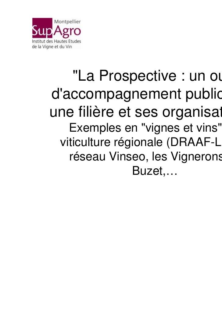 """""""La Prospective : un outildaccompagnement public pourune filière et ses organisations.""""   Exemples en """"vignes et vins"""" : l..."""