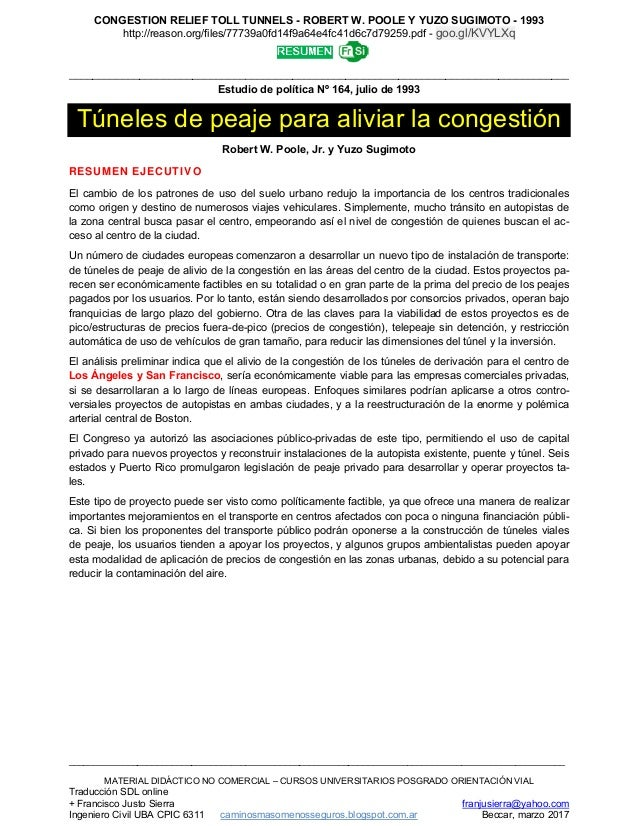 14 reason 1993 poole&sugimoto túneles peajealiviocongestión