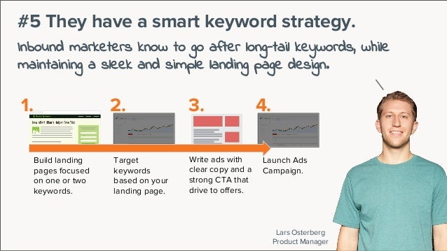 Lars Osterberg Product Manager #5 They have a smart keyword strategy. Inbound marketers know to go after long-tail keyword...