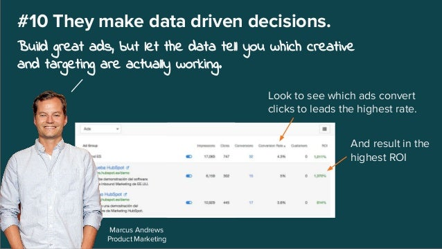 Marcus Andrews Product Marketing #10 They make data driven decisions. Build great ads, but let the data tell you which cre...