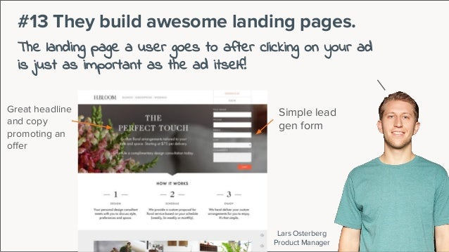Lars Osterberg Product Manager #13 They build awesome landing pages. The landing page a user goes to after clicking on you...