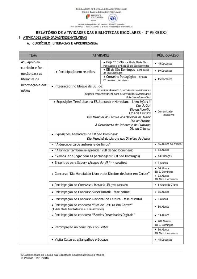 A Coordenadora da Equipa das Bibliotecas Escolares: Risoleta Montez 3º Período 2015/2016 RELATÓRIO DE ATIVIDADES DAS BIBLI...