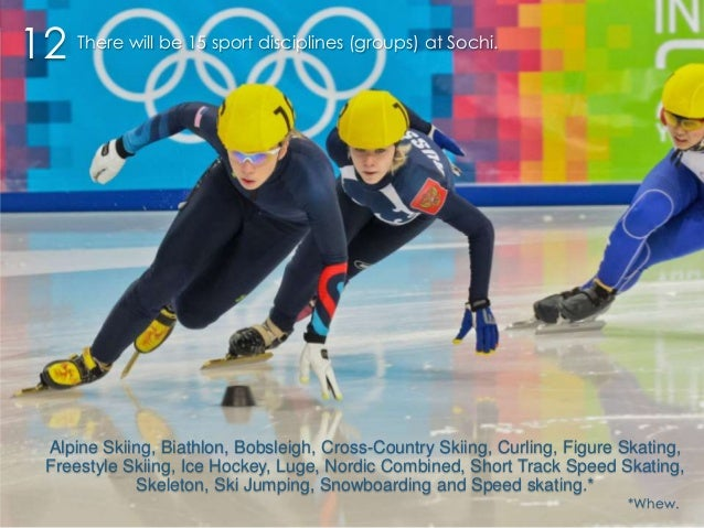 12 There will be 15 sport disciplines (groups) at Sochi.  Alpine Skiing, Biathlon, Bobsleigh, Cross-Country Skiing, Curlin...