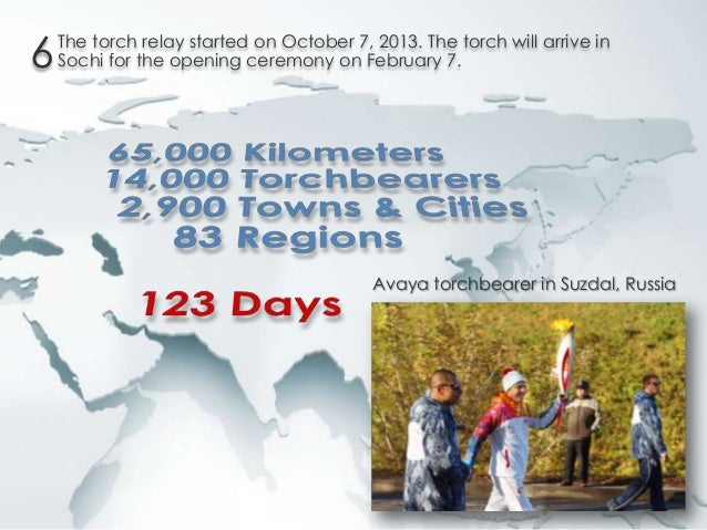 6  The torch relay started on October 7, 2013. The torch will arrive in Sochi for the opening ceremony on February 7.  Ava...