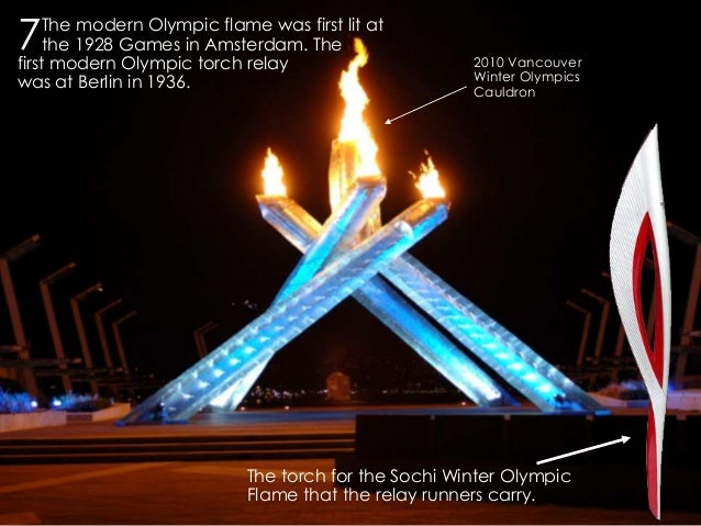 7  The modern Olympic flame was first lit at the 1928 Games in Amsterdam. The first modern Olympic torch relay was at Berl...