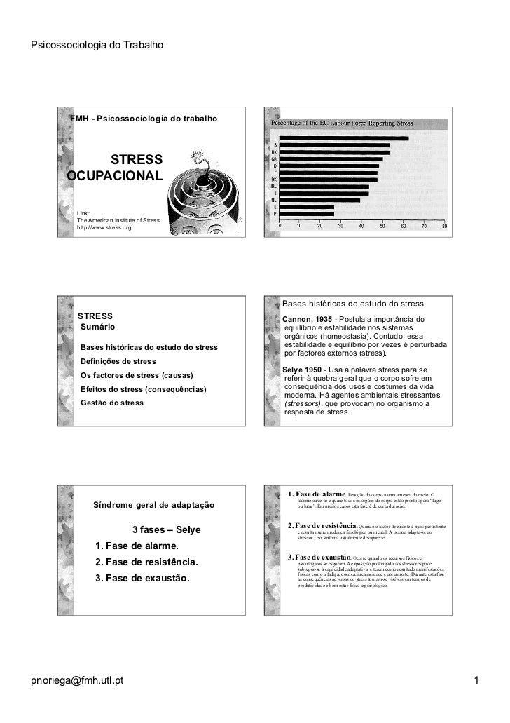 Psicossociologia do Trabalho        FMH - Psicossociologia do trabalho            STRESS       OCUPACIONAL         Link:  ...
